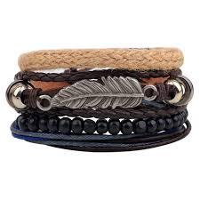 Set van 4 stuks armband met veer