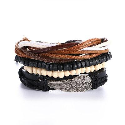 Set van 4 stuks armband met kralen en veer