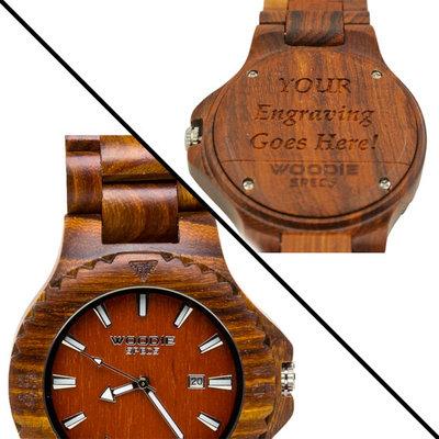 gepersonaliseerd houten horloge van 100% Sandelhout
