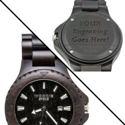 Gepersonaliseerd houten horloge van 100% Ebbenhout