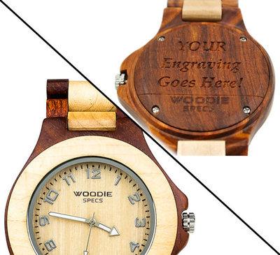 Gepersonaliseerd houten horloge van 100% Esdoorn