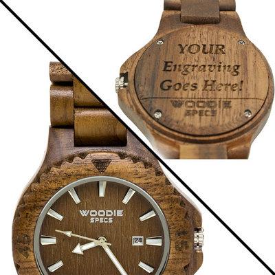 Gepersonaliseerd houten horloge van 100% walnoot