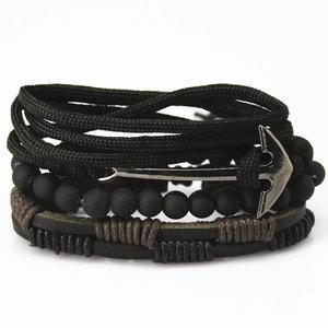 Set van 4 stuks armband met kralen en anker